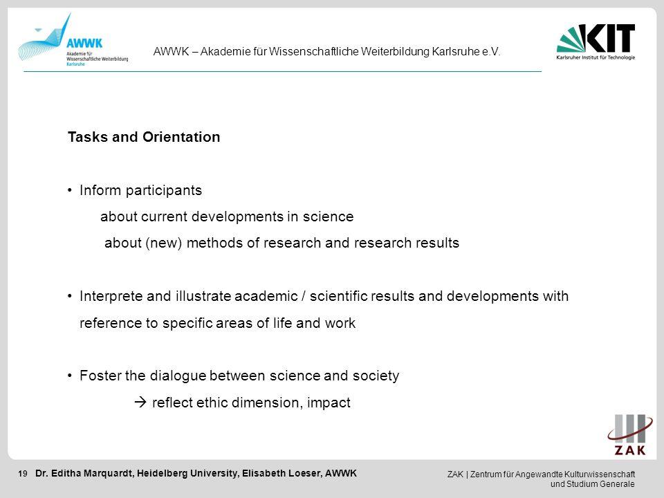 ZAK   Zentrum für Angewandte Kulturwissenschaft und Studium Generale 19 AWWK – Akademie für Wissenschaftliche Weiterbildung Karlsruhe e.V. Dr. Editha