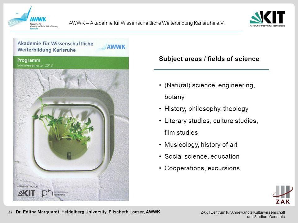 ZAK   Zentrum für Angewandte Kulturwissenschaft und Studium Generale 22 AWWK – Akademie für Wissenschaftliche Weiterbildung Karlsruhe e.V. Dr. Editha