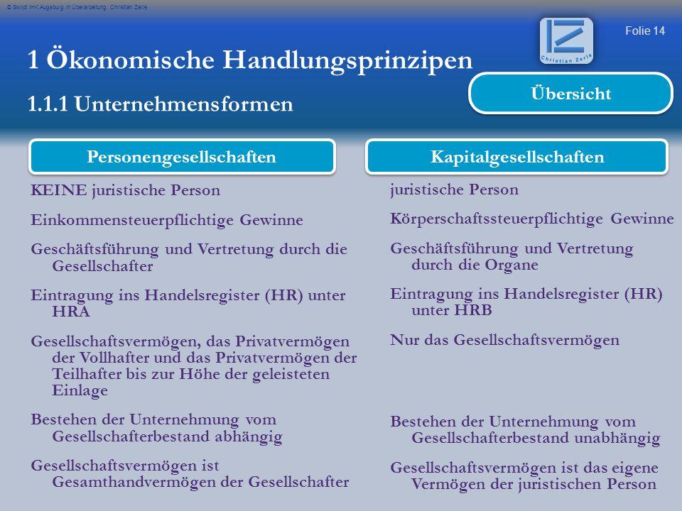 Folie 14 © Skript IHK Augsburg in Überarbeitung Christian Zerle KEINE juristische Person Einkommensteuerpflichtige Gewinne Geschäftsführung und Vertre