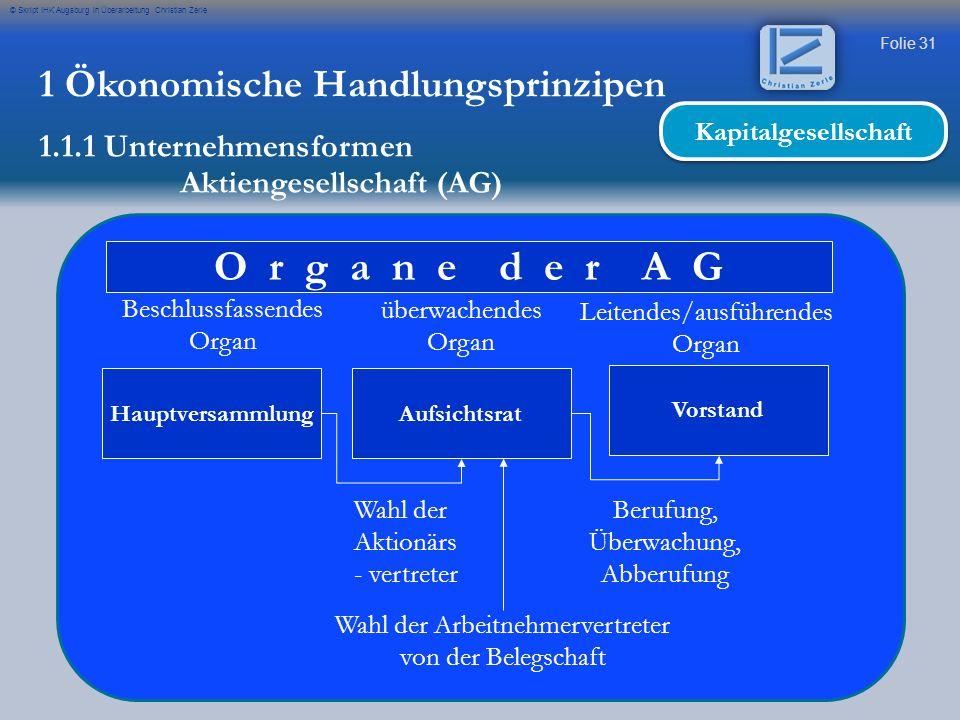 Folie 31 © Skript IHK Augsburg in Überarbeitung Christian Zerle 1 Ökonomische Handlungsprinzipen 1.1.1 Unternehmensformen O r g a n e d e r A G Hauptv