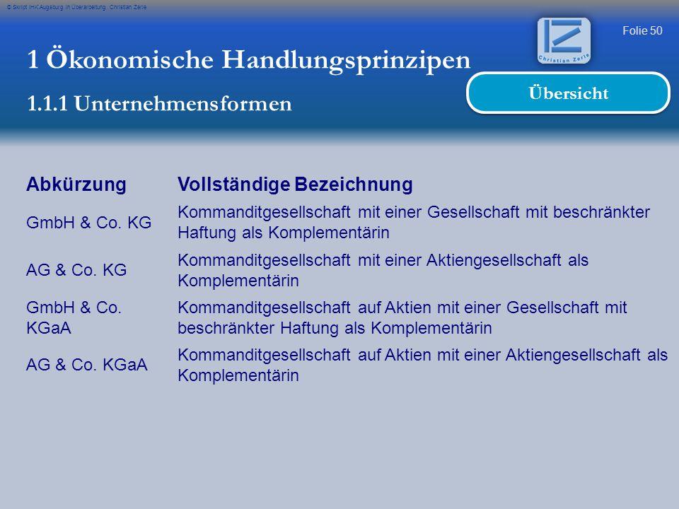 Folie 50 © Skript IHK Augsburg in Überarbeitung Christian Zerle 1 Ökonomische Handlungsprinzipen 1.1.1 Unternehmensformen Übersicht AbkürzungVollständ