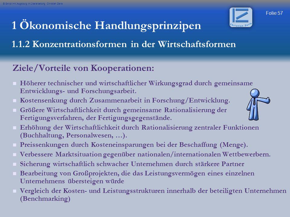 Folie 57 © Skript IHK Augsburg in Überarbeitung Christian Zerle 1 Ökonomische Handlungsprinzipen 1.1.2 Konzentrationsformen in der Wirtschaftsformen Z