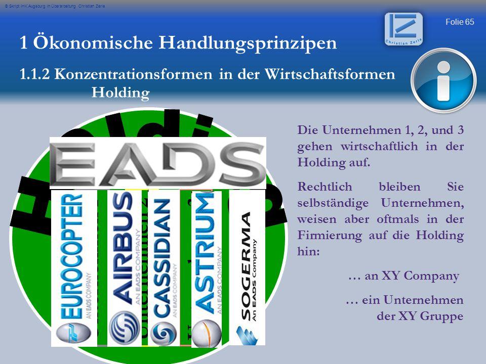 Folie 65 © Skript IHK Augsburg in Überarbeitung Christian Zerle 1 Ökonomische Handlungsprinzipen 1.1.2 Konzentrationsformen in der Wirtschaftsformen H