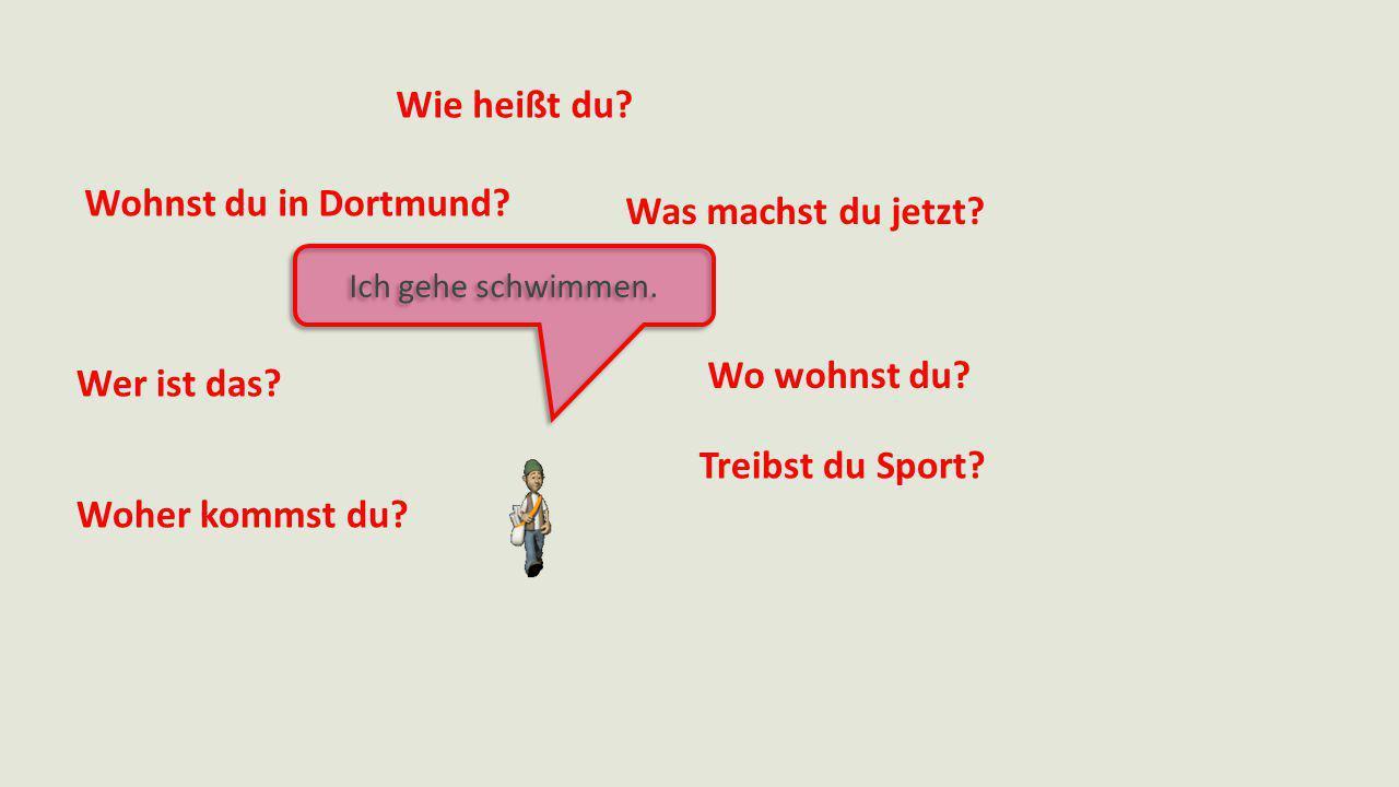 Wie heißt du? Was machst du jetzt? Wo wohnst du? Treibst du Sport? Woher kommst du? Wer ist das? Wohnst du in Dortmund? Ich gehe schwimmen.