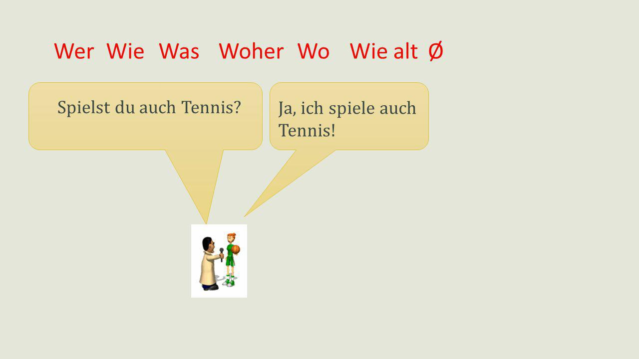 WerWieWasWoherWie altØ Ja, ich spiele auch Tennis! Spielst du auch Tennis? Wo
