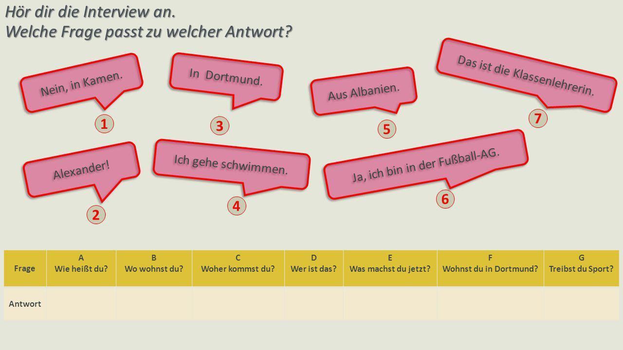 Ein Interview Ich heiße Katrin.Wie heißt du.Ich wohne in Berlin.Wo wohnst du.