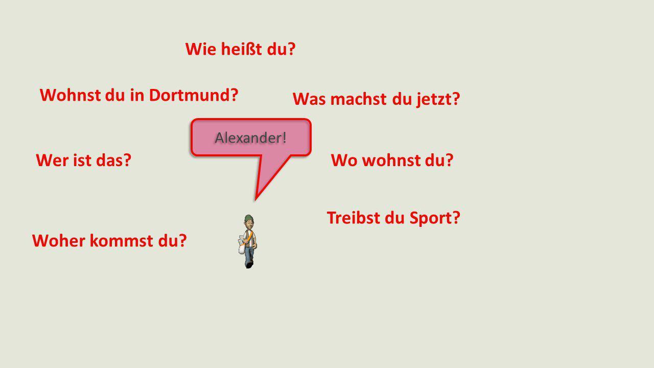 Wie heißt du? Was machst du jetzt? Wo wohnst du? Treibst du Sport? Woher kommst du? Wer ist das? Wohnst du in Dortmund? Alexander!