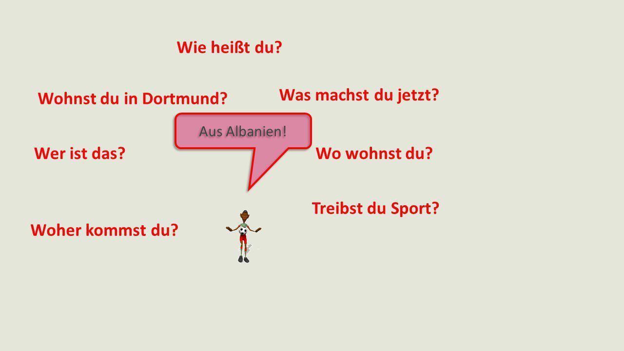 Aus Albanien! Wie heißt du? Was machst du jetzt? Wo wohnst du? Treibst du Sport? Woher kommst du? Wer ist das? Wohnst du in Dortmund?