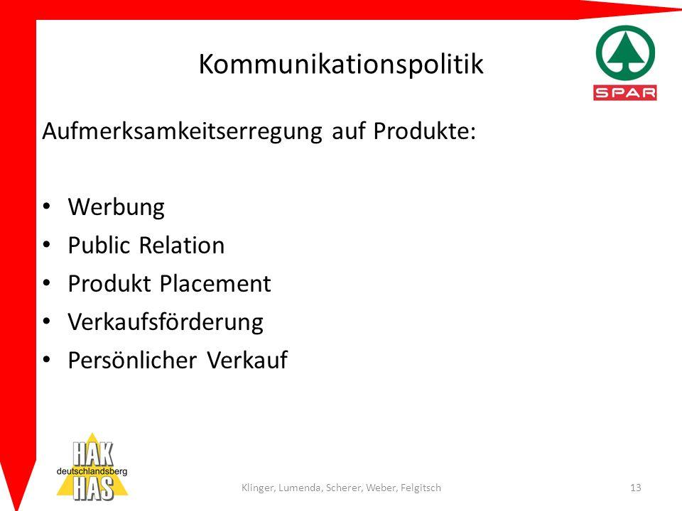 Kommunikationspolitik Aufmerksamkeitserregung auf Produkte: Werbung Public Relation Produkt Placement Verkaufsförderung Persönlicher Verkauf Klinger,