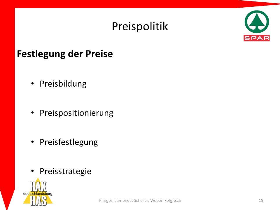 Preispolitik Festlegung der Preise Preisbildung Preispositionierung Preisfestlegung Preisstrategie Klinger, Lumenda, Scherer, Weber, Felgitsch19