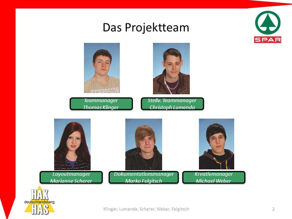 Das Projektteam Klinger, Lumenda, Scherer, Weber, Felgitsch2 Teammanager Thomas Klinger Teammanager Thomas Klinger Stellv. Teammanager Christoph Lumen