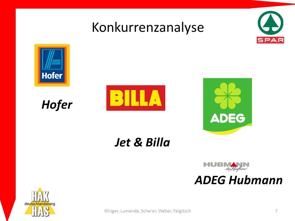 Konkurrenzanalyse Hofer Jet & Billa ADEG Hubmann Klinger, Lumenda, Scherer, Weber, Felgitsch7