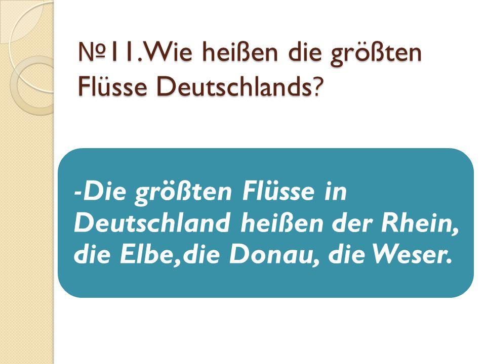№ 11.Wie heißen die größten Flüsse Deutschlands? -Die größten Flüsse in Deutschland heißen der Rhein, die Elbe,die Donau, die Weser.