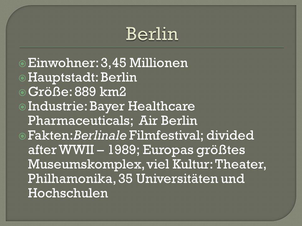  Einwohner: 3,45 Millionen  Hauptstadt: Berlin  Größe: 889 km2  Industrie: Bayer Healthcare Pharmaceuticals; Air Berlin  Fakten:Berlinale Filmfestival; divided after WWII – 1989; Europas größtes Museumskomplex, viel Kultur: Theater, Philhamonika, 35 Universitäten und Hochschulen