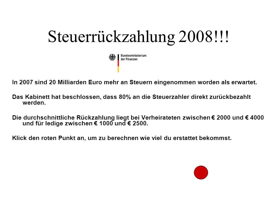 Steuerrückzahlung 2008!!.