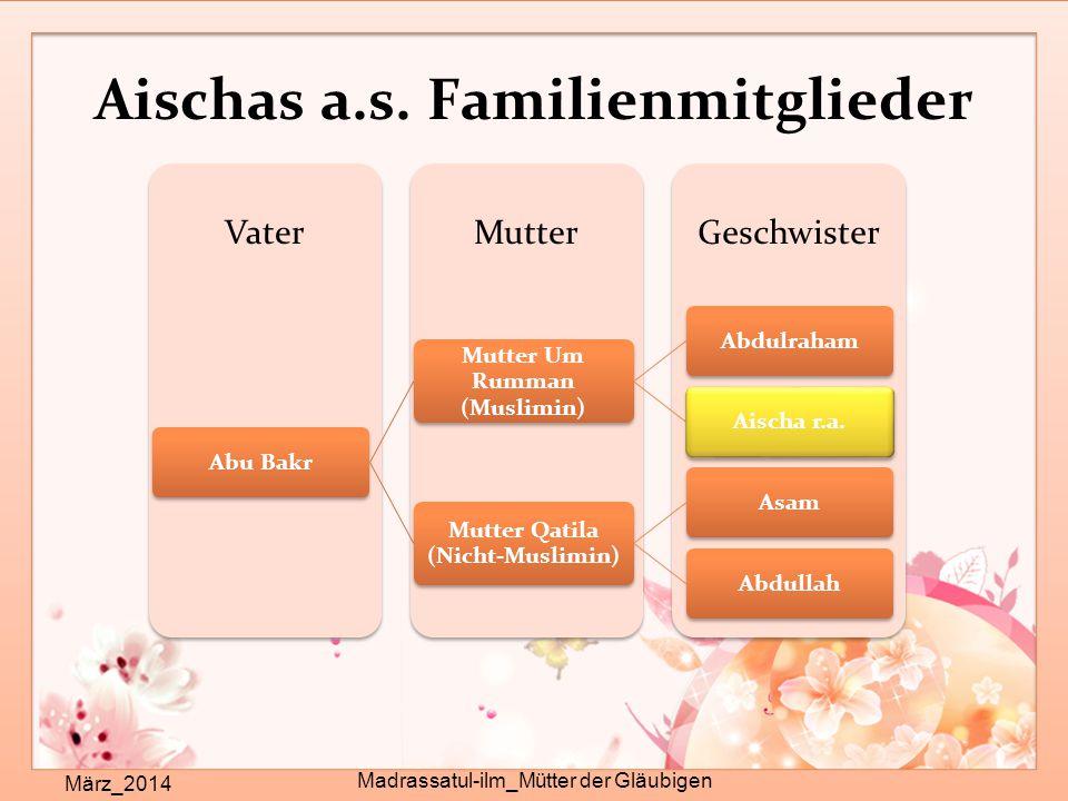 Aischas a.s. Familienmitglieder März_2014 Madrassatul-ilm_Mütter der Gläubigen GeschwisterMutterVater Abu Bakr Mutter Um Rumman (Muslimin) AbdulrahamA