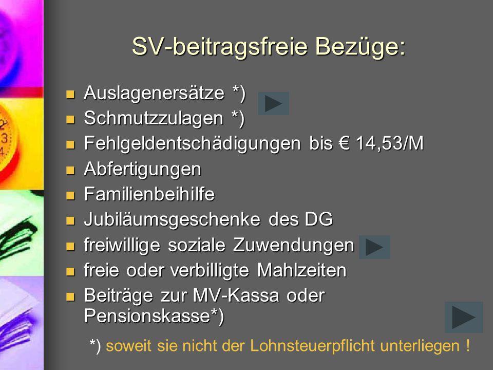 SV-beitragsfreie Bezüge: Auslagenersätze *) Auslagenersätze *) Schmutzzulagen *) Schmutzzulagen *) Fehlgeldentschädigungen bis € 14,53/M Fehlgeldentsc