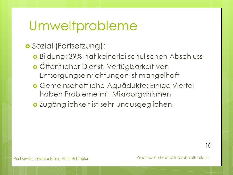 Pia Dewitz, Johanna Klein, Britta Schieblon Practica Ambiental Interdisciplinaria III Umweltprobleme  Sozial (Fortsetzung):  Bildung: 39% hat keiner
