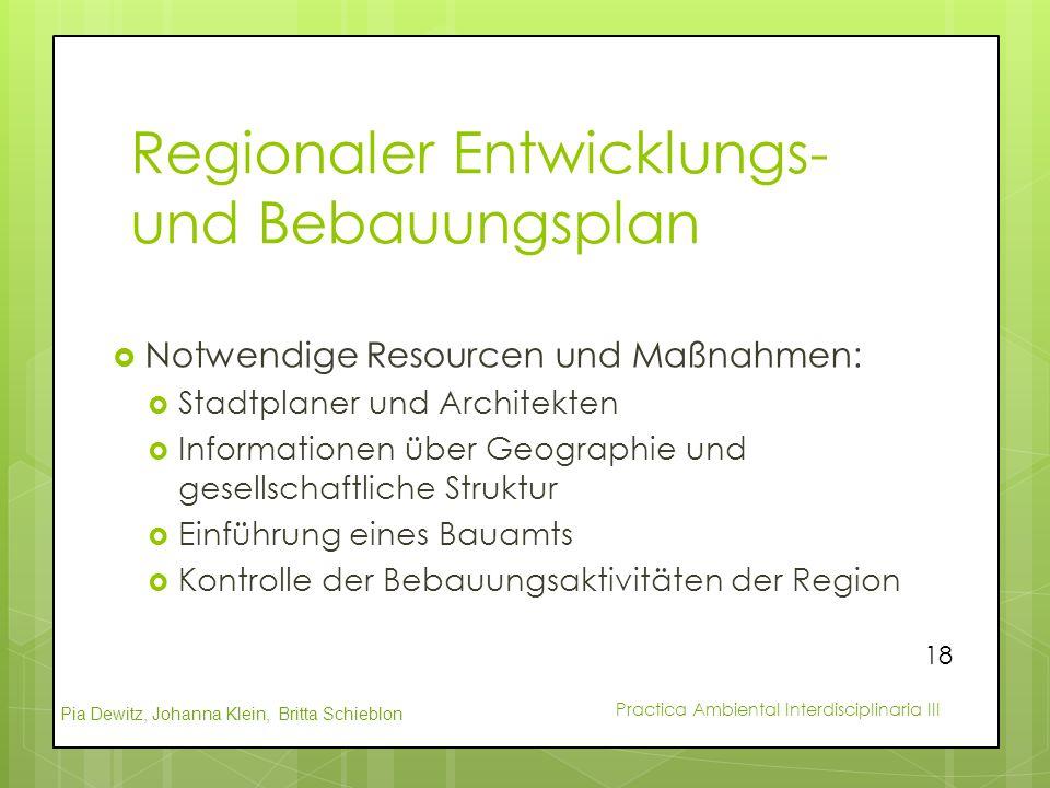 Pia Dewitz, Johanna Klein, Britta Schieblon Practica Ambiental Interdisciplinaria III Regionaler Entwicklungs- und Bebauungsplan  Notwendige Resource