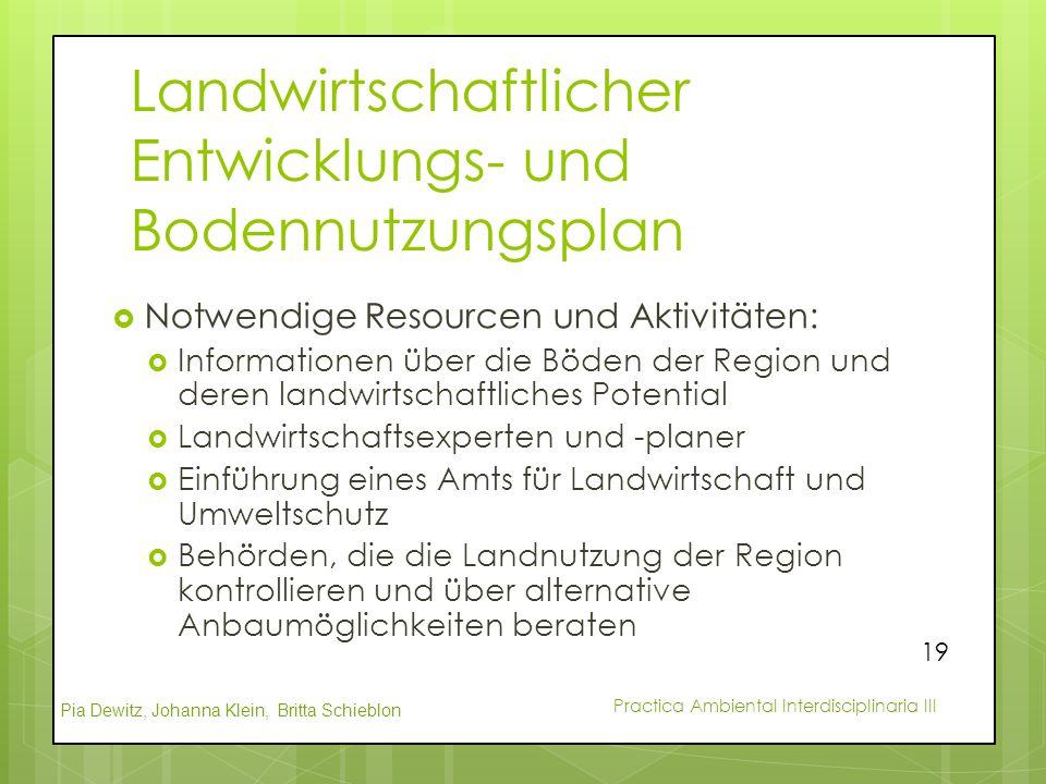 Pia Dewitz, Johanna Klein, Britta Schieblon Practica Ambiental Interdisciplinaria III Landwirtschaftlicher Entwicklungs- und Bodennutzungsplan  Notwe