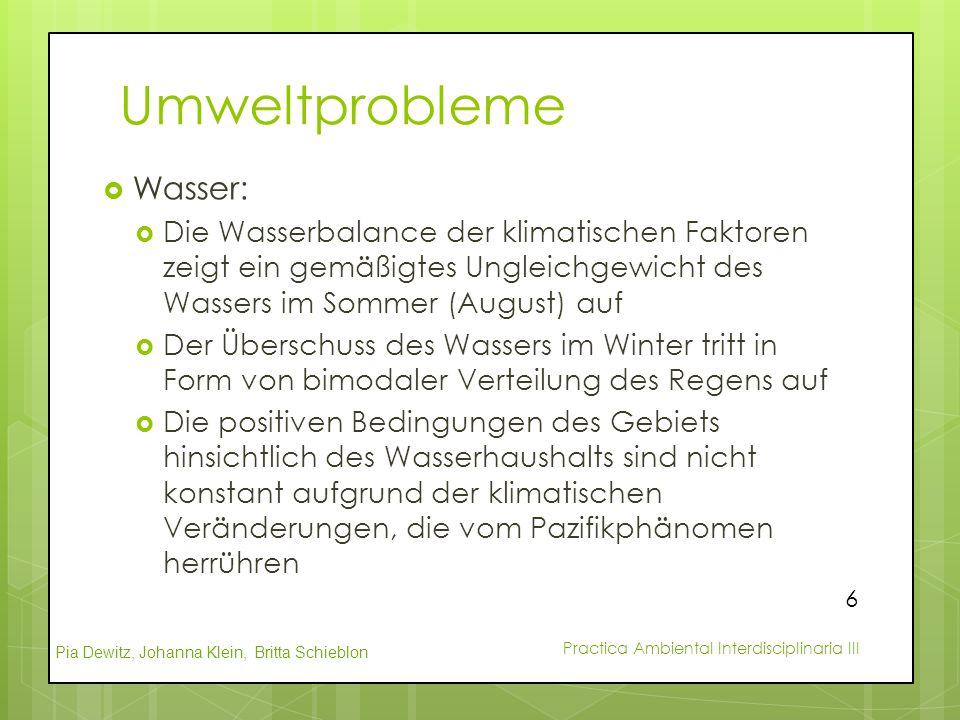 Pia Dewitz, Johanna Klein, Britta Schieblon Practica Ambiental Interdisciplinaria III Umweltprobleme  Wasser:  Die Wasserbalance der klimatischen Fa