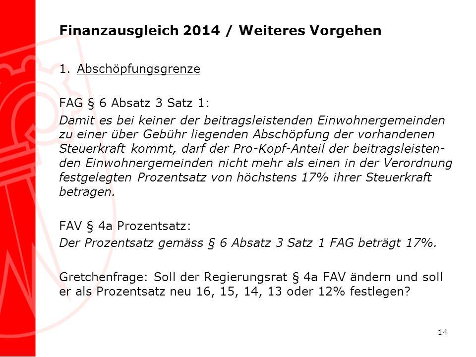 Finanzausgleich 2014 / Weiteres Vorgehen 1.Abschöpfungsgrenze FAG § 6 Absatz 3 Satz 1: Damit es bei keiner der beitragsleistenden Einwohnergemeinden z