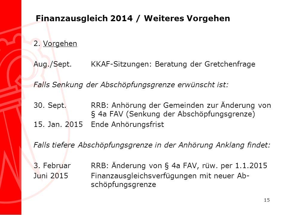 Finanzausgleich 2014 / Weiteres Vorgehen 2. Vorgehen Aug./Sept.KKAF-Sitzungen: Beratung der Gretchenfrage Falls Senkung der Abschöpfungsgrenze erwünsc