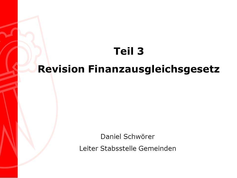Teil 3 Revision Finanzausgleichsgesetz Daniel Schwörer Leiter Stabsstelle Gemeinden