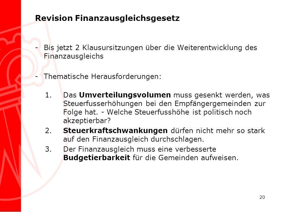 Revision Finanzausgleichsgesetz -Bis jetzt 2 Klausursitzungen über die Weiterentwicklung des Finanzausgleichs -Thematische Herausforderungen: 1.Das Um