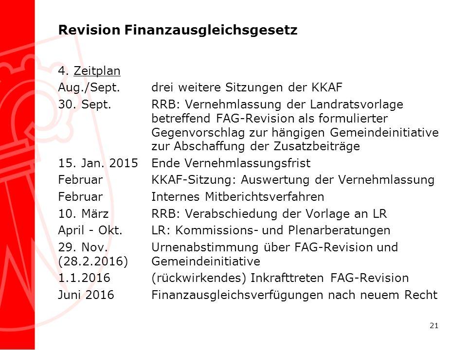 Revision Finanzausgleichsgesetz 4. Zeitplan Aug./Sept.drei weitere Sitzungen der KKAF 30. Sept.RRB: Vernehmlassung der Landratsvorlage betreffend FAG-