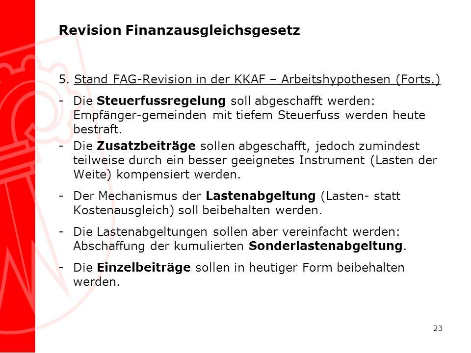 Revision Finanzausgleichsgesetz 5. Stand FAG-Revision in der KKAF – Arbeitshypothesen (Forts.) -Die Steuerfussregelung soll abgeschafft werden: Empfän