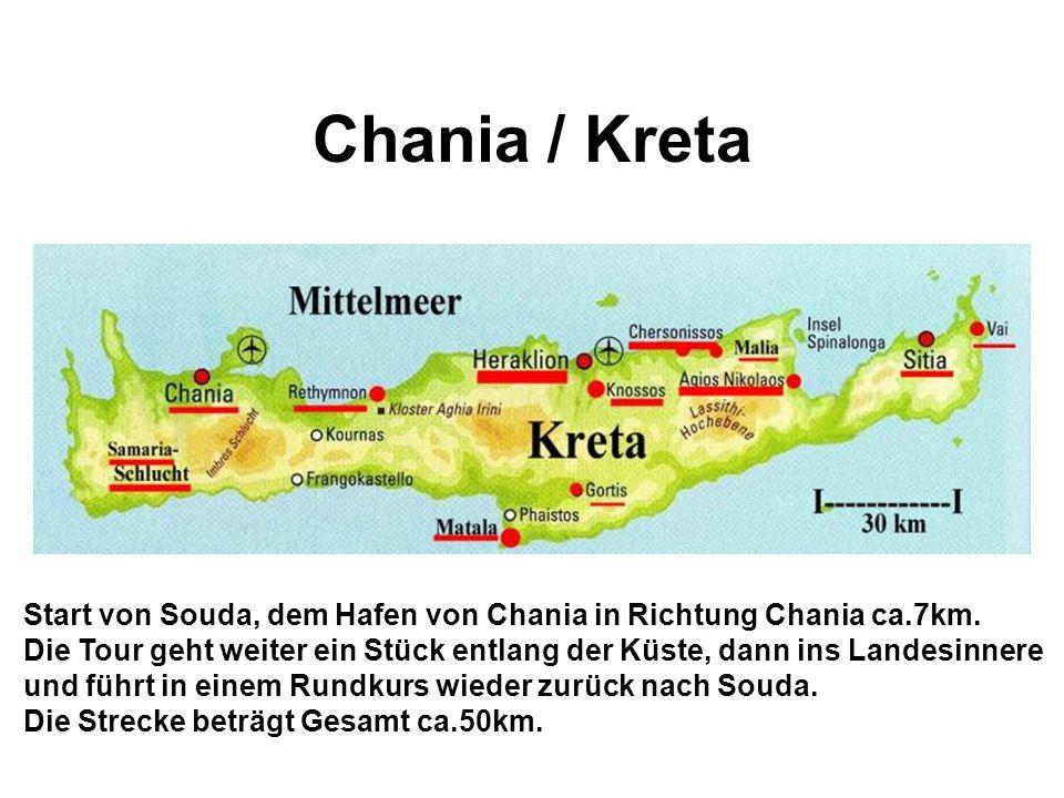 Chania / Kreta Start von Souda, dem Hafen von Chania in Richtung Chania ca.7km.