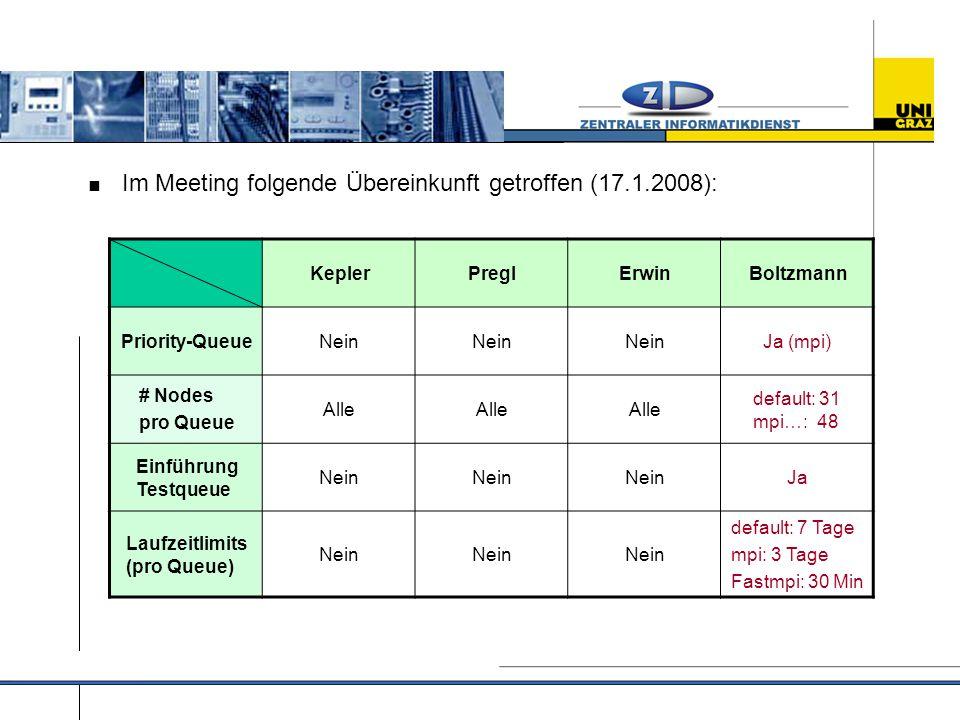  Im Meeting folgende Übereinkunft getroffen (17.1.2008): KeplerPreglErwinBoltzmann Priority-QueueNein Ja (mpi) # Nodes pro Queue Alle default: 31 mpi…: 48 Einführung Testqueue Nein Ja Laufzeitlimits (pro Queue) Nein default: 7 Tage mpi: 3 Tage Fastmpi: 30 Min