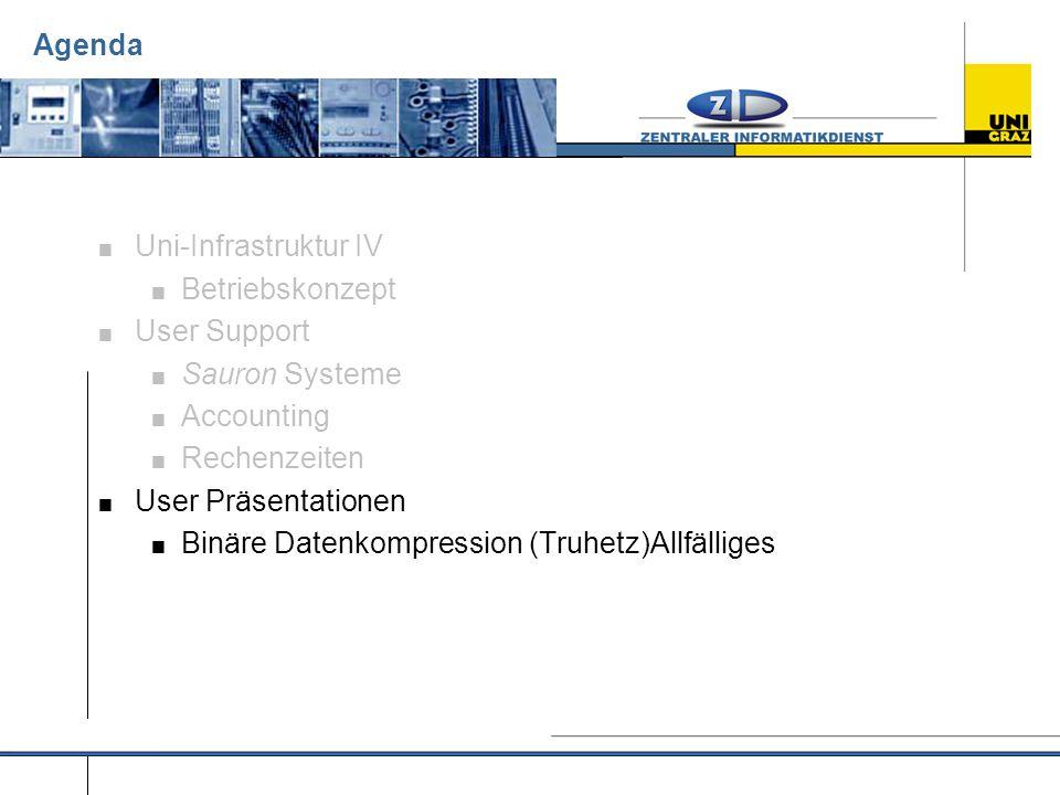 Agenda  Uni-Infrastruktur IV  Betriebskonzept  User Support  Sauron Systeme  Accounting  Rechenzeiten  User Präsentationen  Binäre Datenkompression (Truhetz)Allfälliges