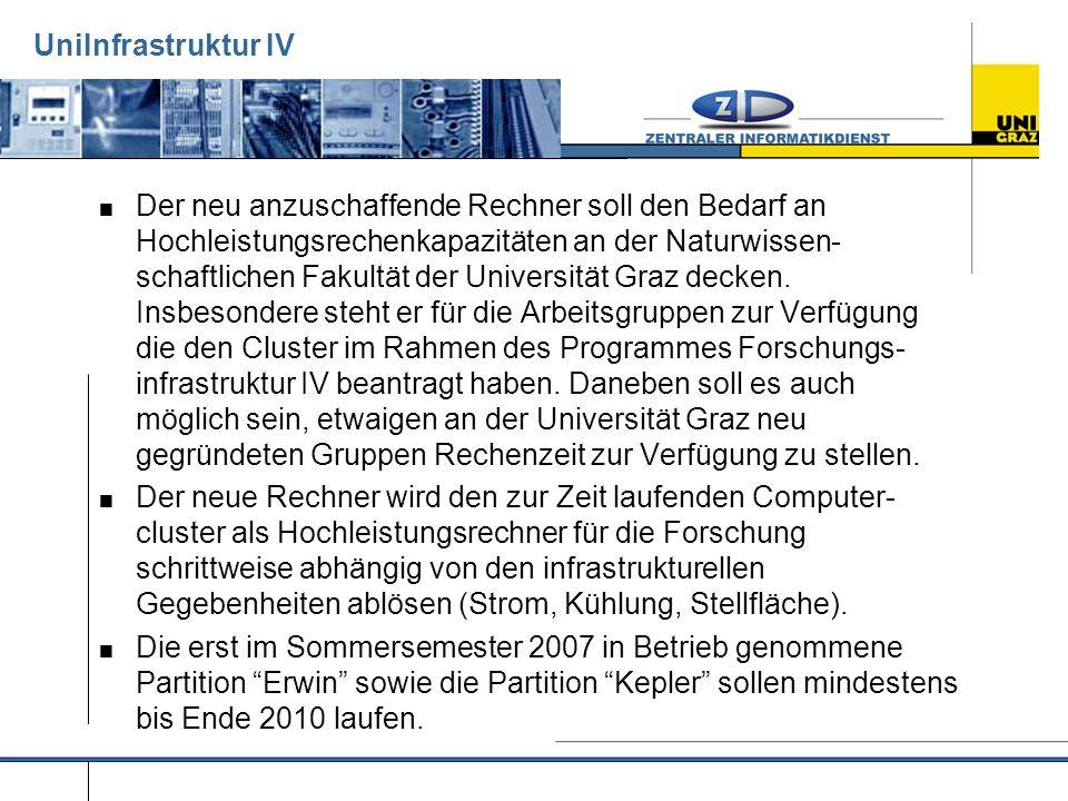 UniInfrastruktur IV  Der neu anzuschaffende Rechner soll den Bedarf an Hochleistungsrechenkapazitäten an der Naturwissen- schaftlichen Fakultät der Universität Graz decken.