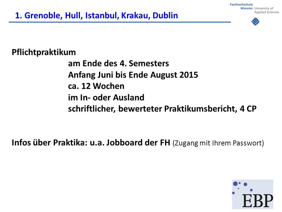 Pflichtpraktikum am Ende des 4. Semesters Anfang Juni bis Ende August 2015 ca. 12 Wochen im In- oder Ausland schriftlicher, bewerteter Praktikumsberic