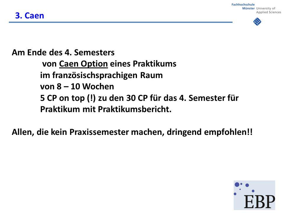 Am Ende des 4. Semesters von Caen Option eines Praktikums im französischsprachigen Raum von 8 – 10 Wochen 5 CP on top (!) zu den 30 CP für das 4. Seme