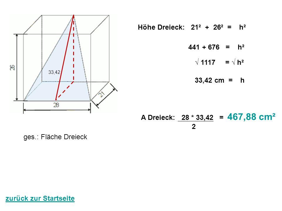 ges.: Fläche Dreieck Höhe Dreieck: 21² + 26² = h² 441 + 676 = h² √ 1117 = √ h² 33,42 cm = h 33,42 A Dreieck: 28 * 33,42 = 467,88 cm² 2 zurück zur Star