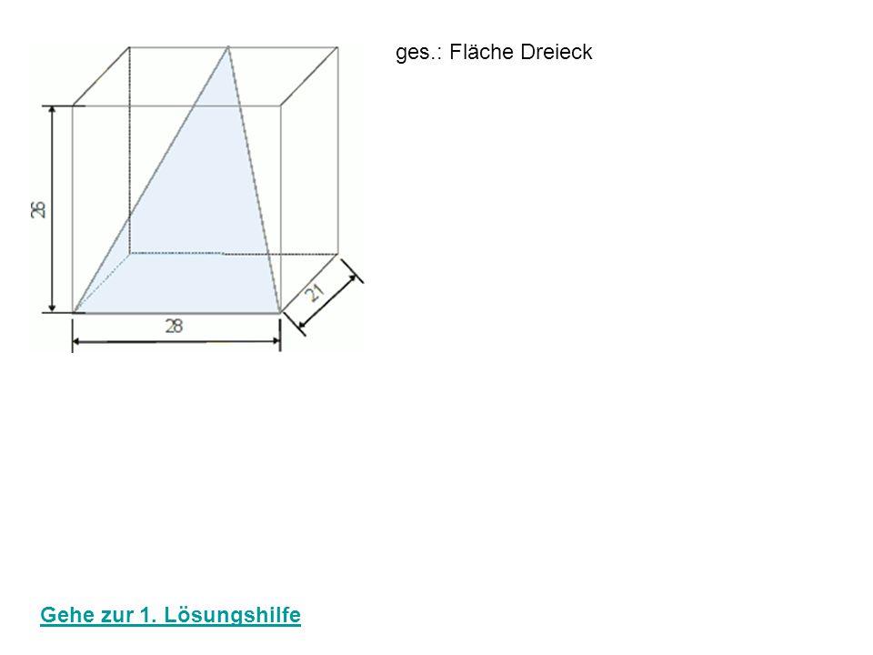 ges.: Fläche Dreieck Höhe Dreieck: 21² + 26² = h² 441 + 676 = h² √ 1117 = √ h² 33,42 cm = h 33,42 A Dreieck: 28 * 33,42 = 467,88 cm² 2 zurück zur Startseite
