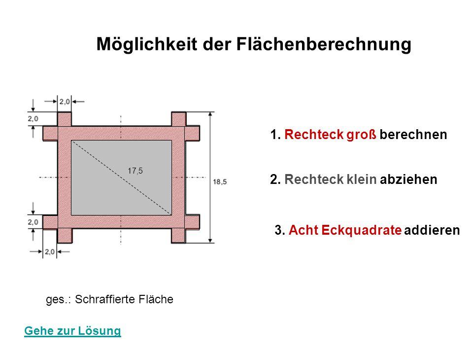 Möglichkeit der Flächenberechnung 1. Rechteck groß berechnen 2. Rechteck klein abziehen 3. Acht Eckquadrate addieren 17,5 ges.: Schraffierte Fläche Ge
