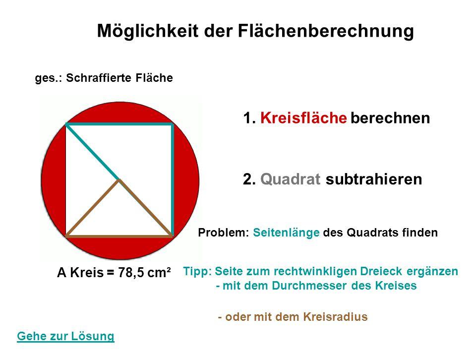 Möglichkeit der Flächenberechnung 1. Kreisfläche berechnen 2. Quadrat subtrahieren A Kreis = 78,5 cm² ges.: Schraffierte Fläche Gehe zur Lösung Proble