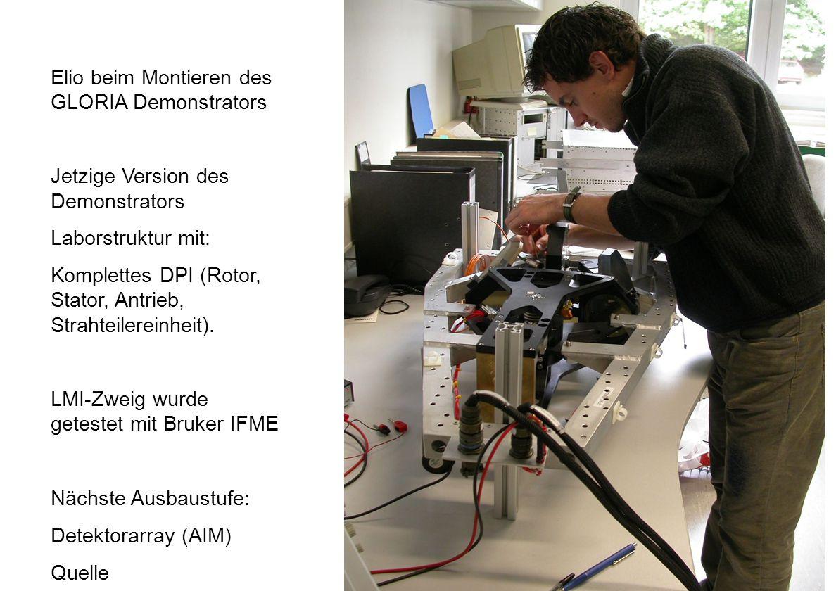Forschungszentrum Karlsruhe in der Helmholtz-Gemeinschaft MIPAS-STR IMK-Seminar 7 Oktober 20053 Elio beim Montieren des GLORIA Demonstrators Jetzige Version des Demonstrators Laborstruktur mit: Komplettes DPI (Rotor, Stator, Antrieb, Strahteilereinheit).
