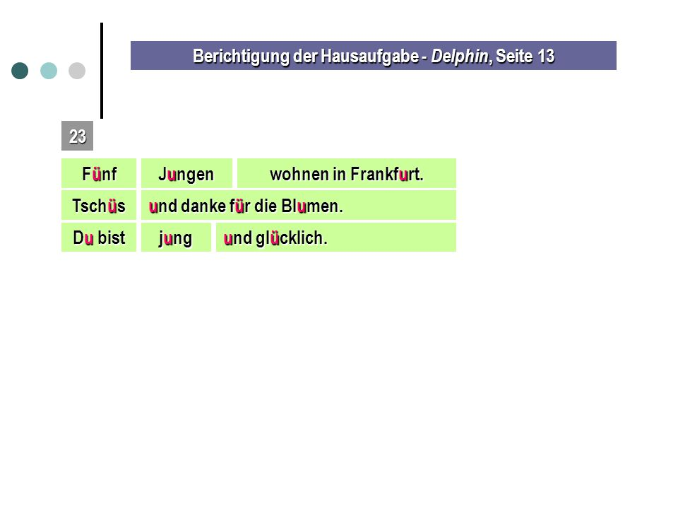 Berichtigung der Hausaufgabe - Delphin, Seite 13 23 Fünf Jungen wohnen in Frankfurt.