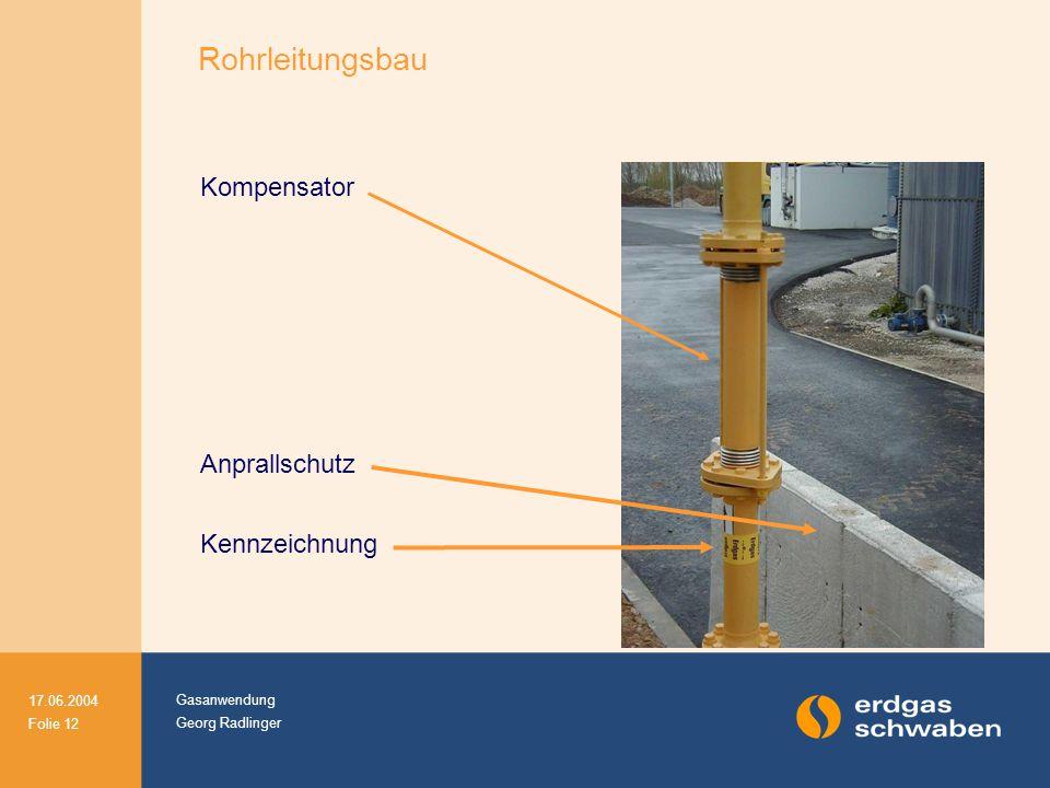 Gasanwendung Georg Radlinger 17.06.2004 Folie 12 Rohrleitungsbau Kompensator Anprallschutz Kennzeichnung