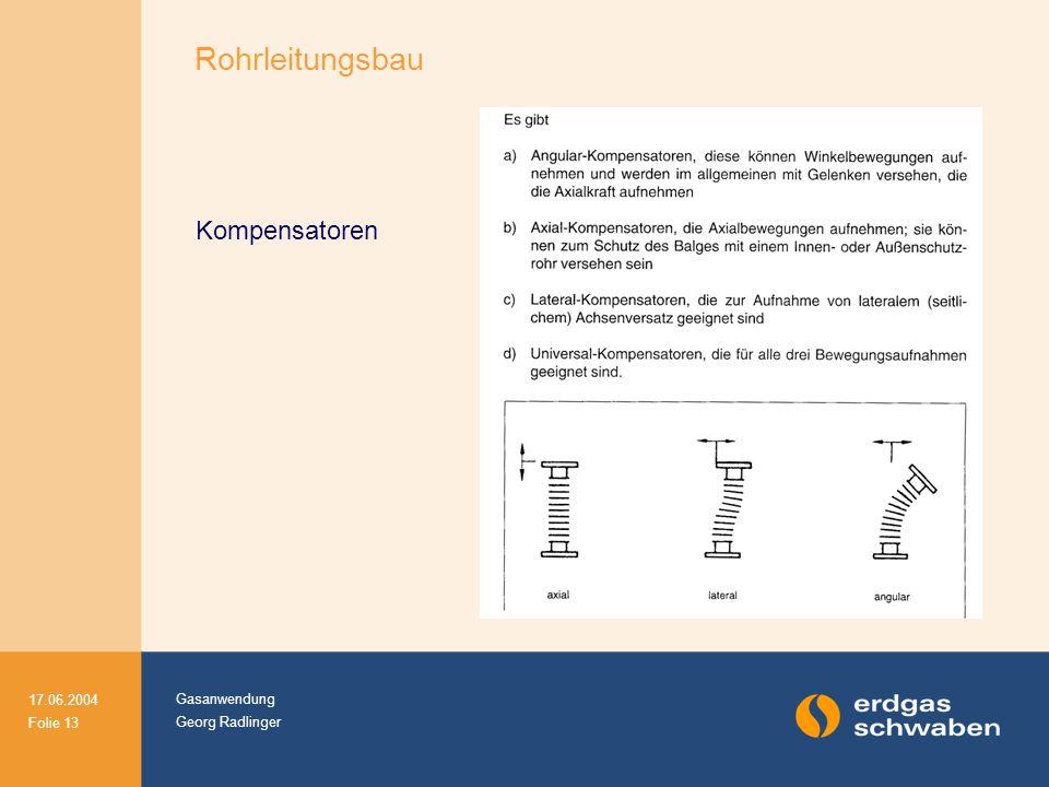 Gasanwendung Georg Radlinger 17.06.2004 Folie 13 Kompensatoren Rohrleitungsbau