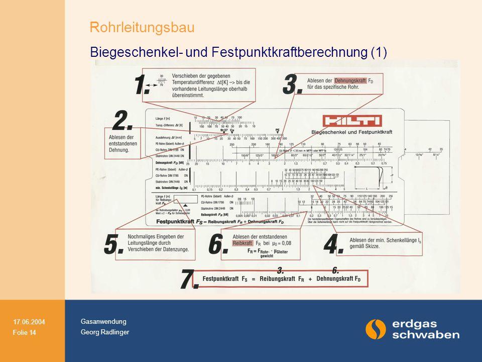 Gasanwendung Georg Radlinger 17.06.2004 Folie 14 Biegeschenkel- und Festpunktkraftberechnung (1) Rohrleitungsbau