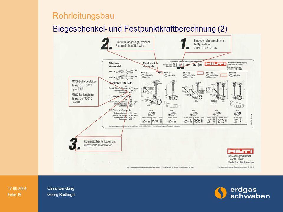 Gasanwendung Georg Radlinger 17.06.2004 Folie 15 Biegeschenkel- und Festpunktkraftberechnung (2) Rohrleitungsbau