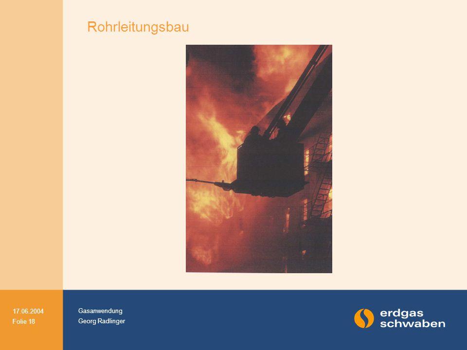 Gasanwendung Georg Radlinger 17.06.2004 Folie 18 Rohrleitungsbau