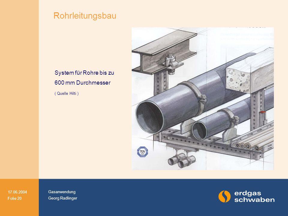 Gasanwendung Georg Radlinger 17.06.2004 Folie 20 System für Rohre bis zu 600 mm Durchmesser ( Quelle Hilti ) Rohrleitungsbau