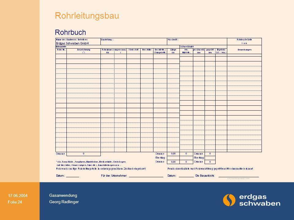 Gasanwendung Georg Radlinger 17.06.2004 Folie 24 Rohrleitungsbau Rohrbuch